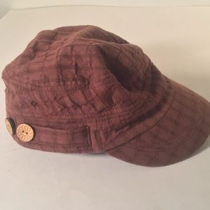 Scala brown cotton check newsboy cap with buttons